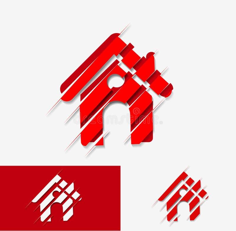 Hem- symbolsdesign royaltyfri illustrationer