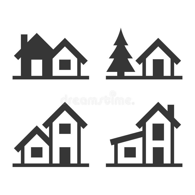 Hem- symbolsuppsättning för den Real Estate logoen vektor royaltyfri illustrationer