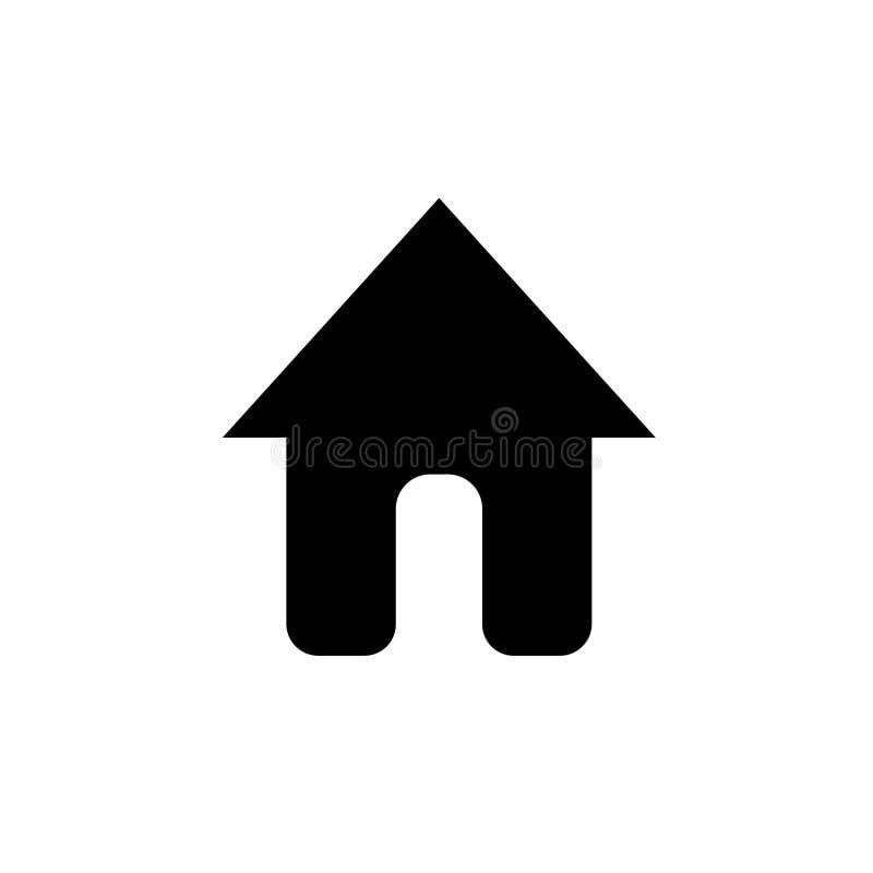 Hem- symbolsvektor, hem- symbol för att webbplatsuien eller applikationuien ska gå till huvudsakligt eller hemsidan, plan enkel d royaltyfri illustrationer