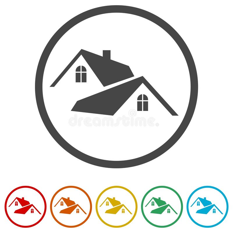 Hem- taksymbol, fastighetsymbol, 6 inklusive färger vektor illustrationer