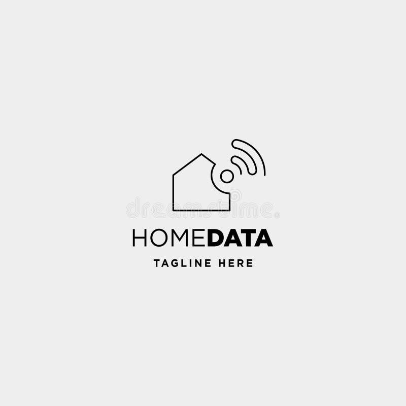 hem- tecken för siymbol för symbol för hem för wifi för vektor för internetlogodesign stock illustrationer