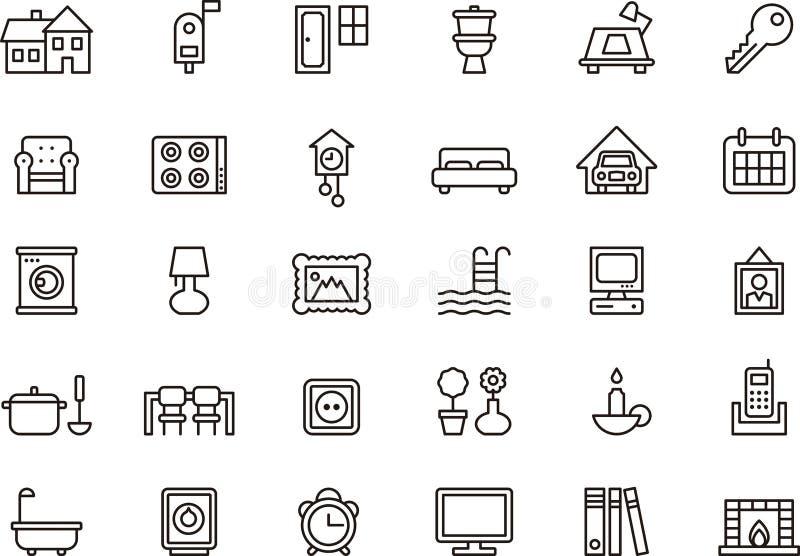 Hem- themed symbolsuppsättning vektor illustrationer