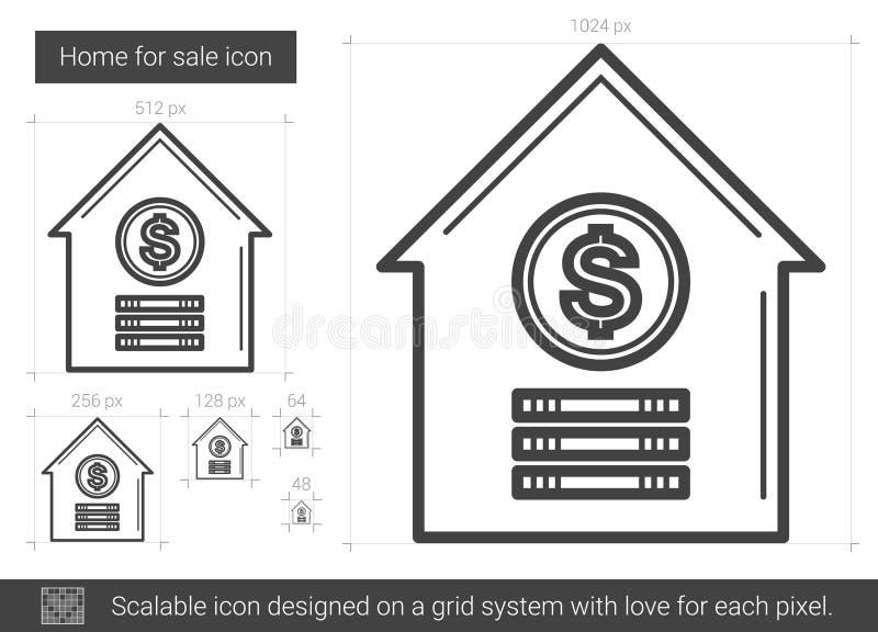 Hem- till salu linje symbol stock illustrationer