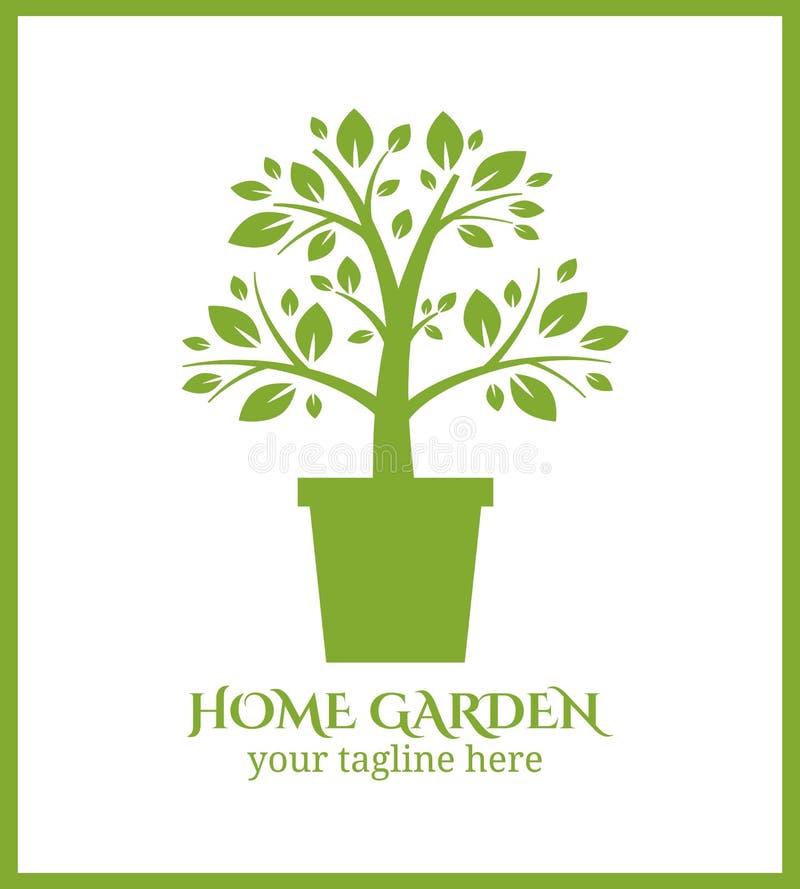 Hem- trädgårds- etikett, träd i krukalogo royaltyfri illustrationer