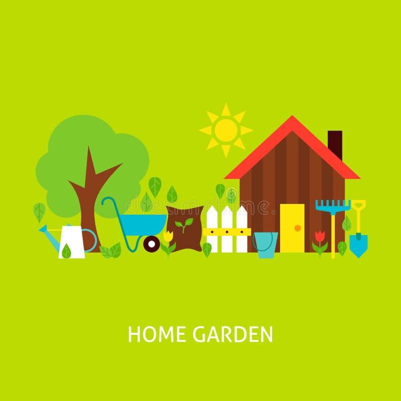 Hem- trädgårds- vektorlägenhetbegrepp royaltyfri illustrationer