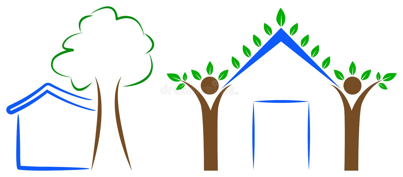 Hem- trädlogo vektor illustrationer