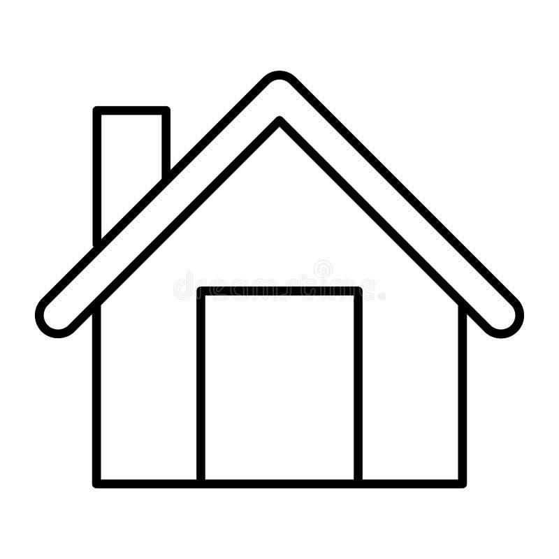 Hem- tunn linje symbol Husvektorillustration som isoleras på vit Byggande översiktsstildesign som planläggs för rengöringsduk och royaltyfri illustrationer