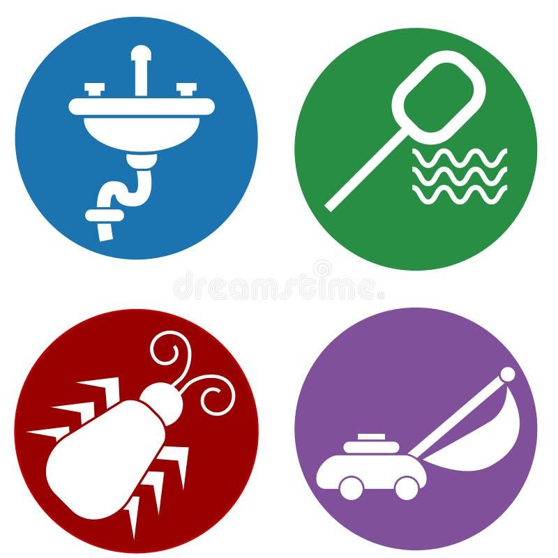 Hem- underhållssymboler stock illustrationer