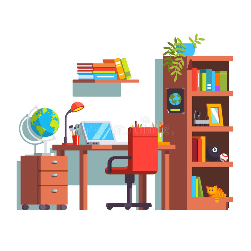 Hem- ungerum med skrivbordet, stol, bärbar dator, bokfall royaltyfri illustrationer