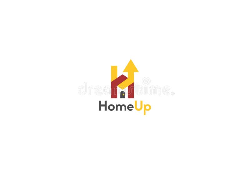 Hem upp logomall arkivbild