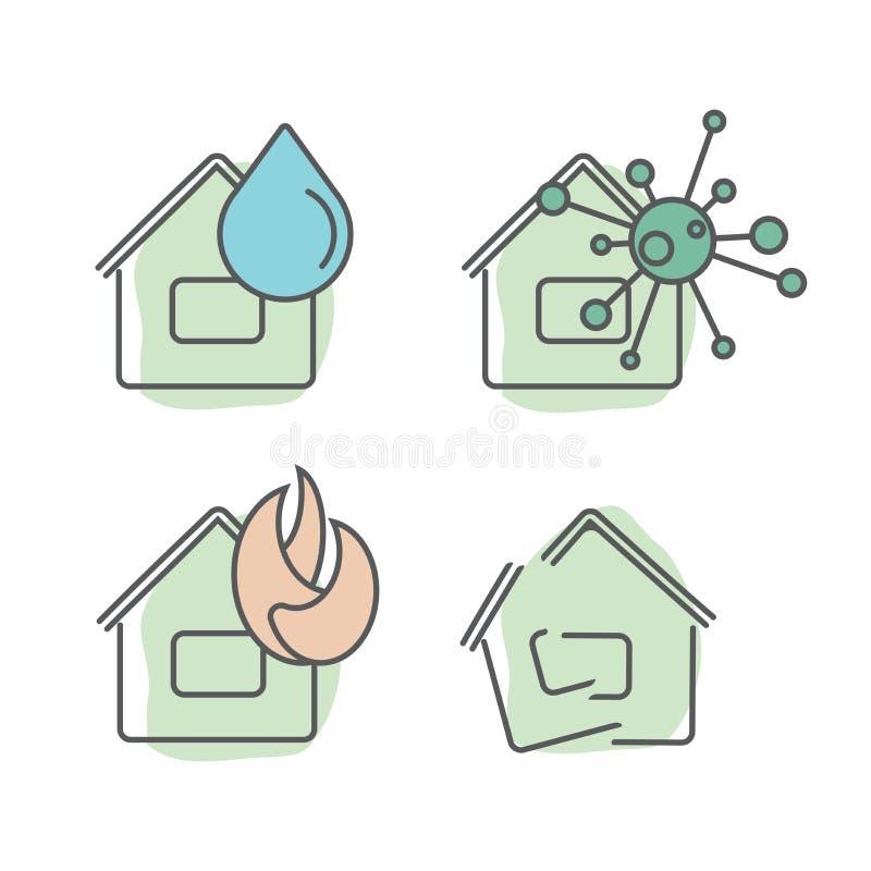 Hem- uppsättning för illustration för försäkringservice av olika typer av försäkringar i fallet av olika typer av värdeförändelse vektor illustrationer