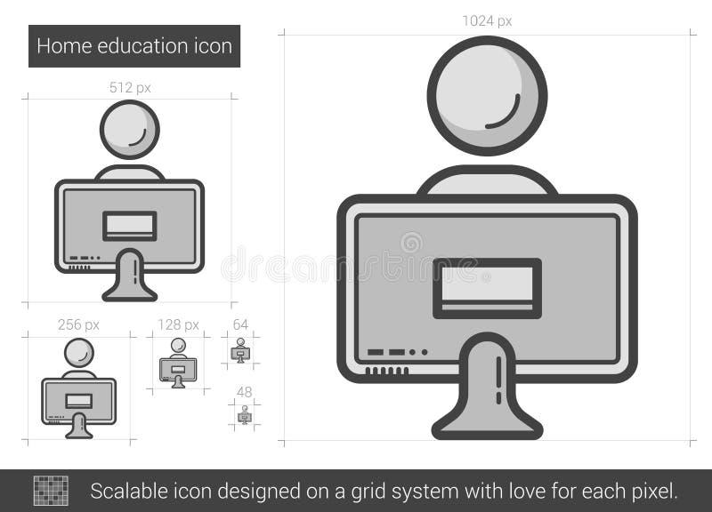 Hem- utbildningslinje symbol vektor illustrationer