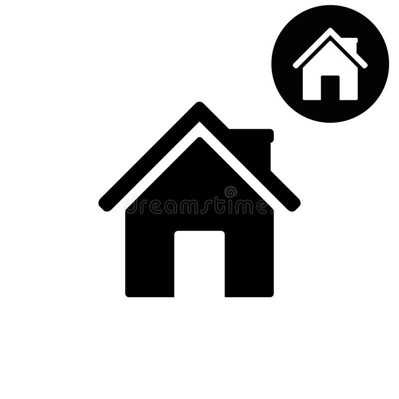 Hem- vita och svarta vektorsymboler royaltyfri illustrationer