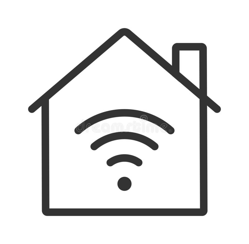Hem- WiFi symbol smart utgångspunkt royaltyfri illustrationer