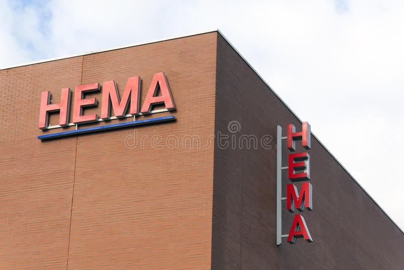 Hema letters on wall stock photos