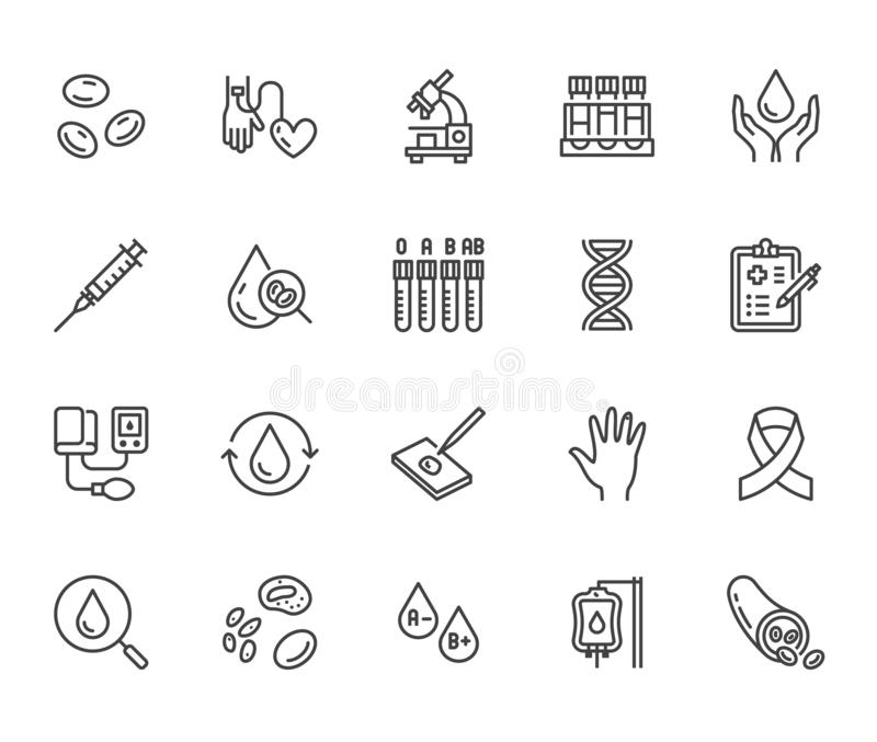 Hematology flat line icons set. Blood cell, vessel, sphygmomanometer, dna test, biochemical microscope vector stock illustration