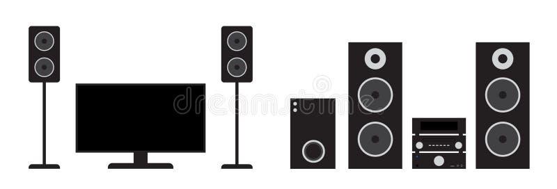 Hembion för plan svart och det stereo- systemet ställde in Vektorillustration av tv, mottagaren, subwooferen och högtalare royaltyfri illustrationer