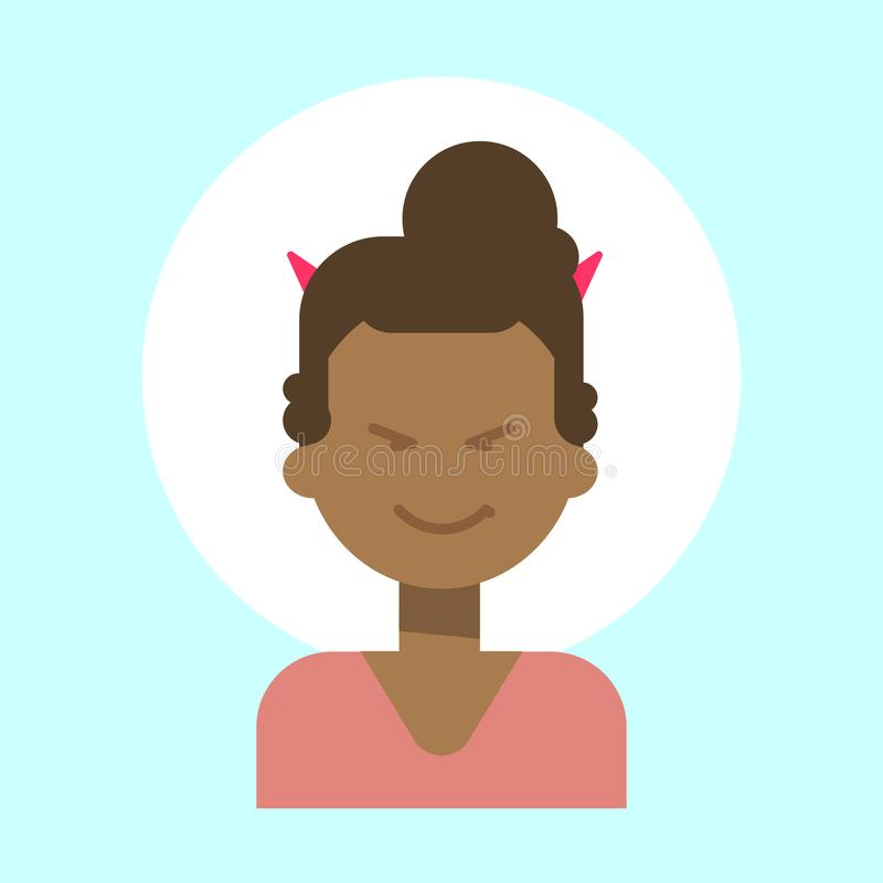 Hembra afroamericana con el icono del perfil de la emoción de los cuernos del diablo, cara sonriente feliz del retrato de la hist libre illustration