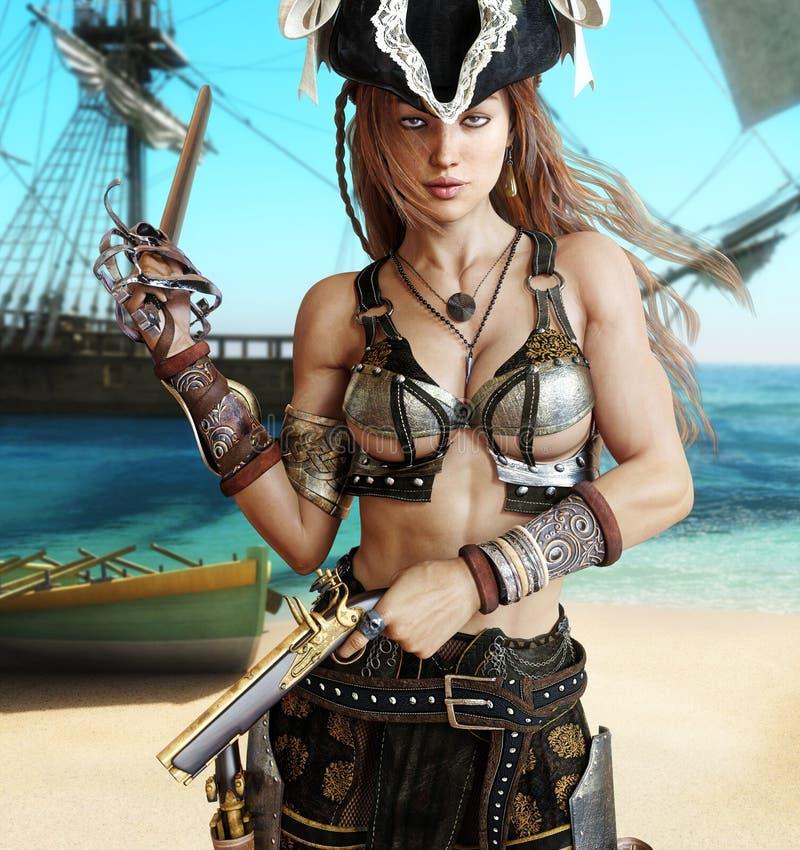 Hembra atractiva de fascinación del pirata ilustración del vector