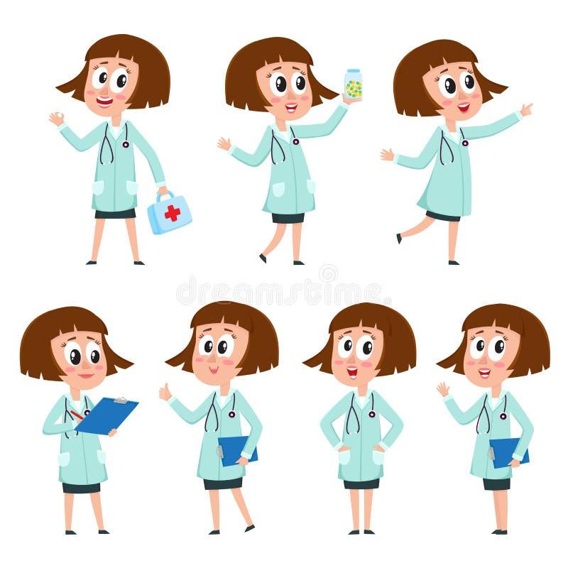 Hembra cómica del estilo, capa médica blanca que lleva del carácter del doctor de la mujer ilustración del vector