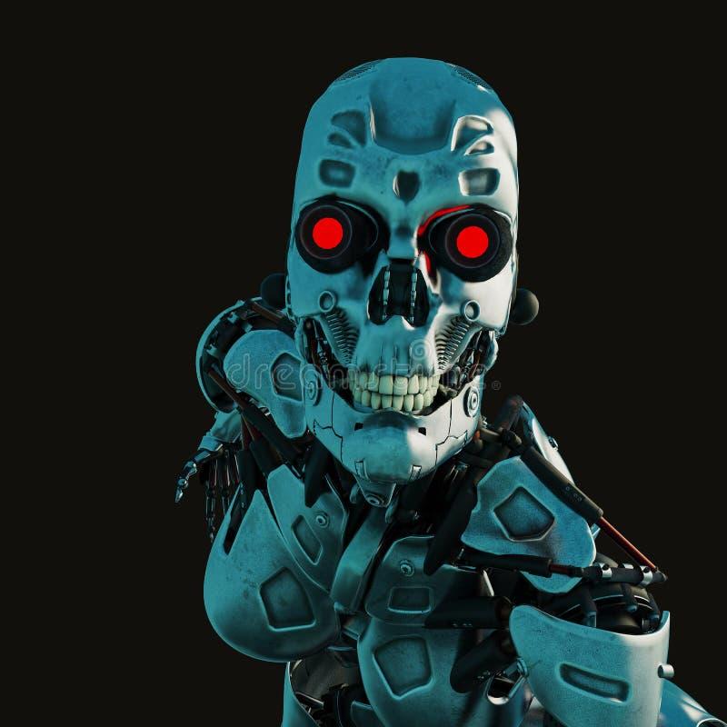 Hembra cibernética en un fondo oscuro y mojado ilustración del vector