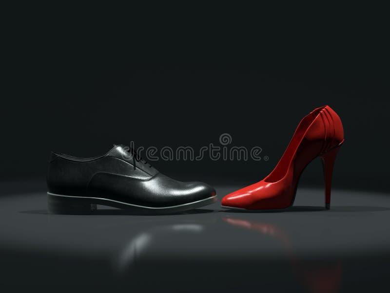 Hembra contra los zapatos masculinos stock de ilustración