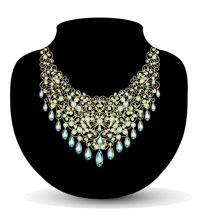 Hembra de oro del collar con las piedras preciosas stock de ilustración