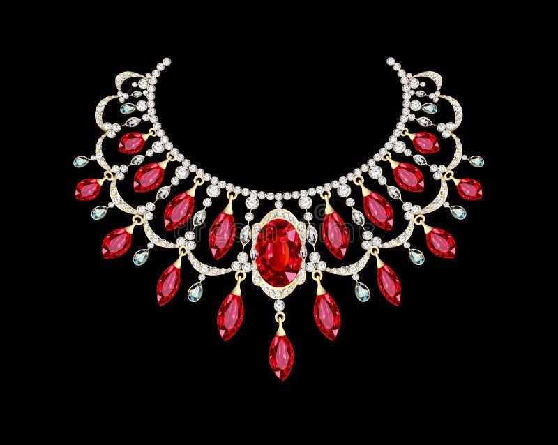 Hembra de oro del collar con las piedras preciosas rojas stock de ilustración
