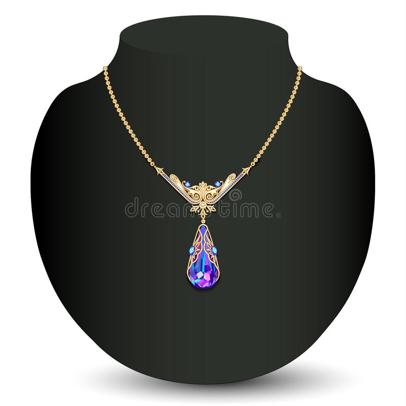 Hembra de oro del collar con precioso blanco ilustración del vector