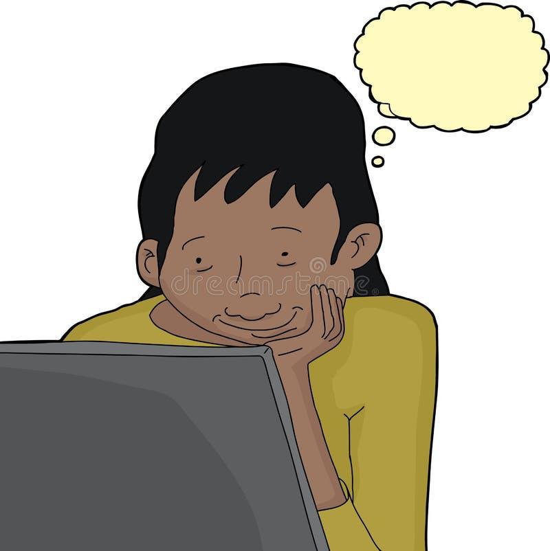 Hembra de pensamiento aislada con el ordenador portátil stock de ilustración