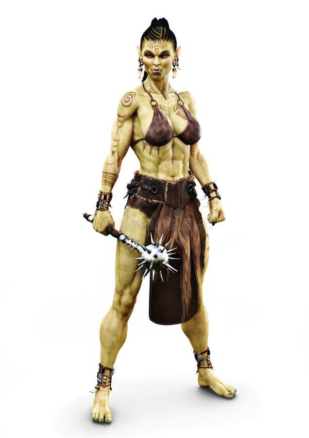 Hembra de Savage Orc que sostiene un mayal Carácter temático de la fantasía en un fondo blanco aislado ilustración del vector