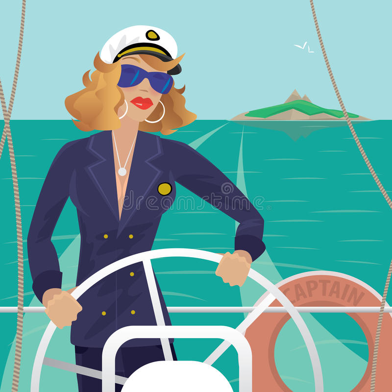 Hembra del capitán de mar en la cubierta con el volante de las naves stock de ilustración
