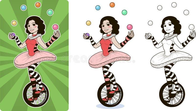 Hembra del carácter del circo del juglar stock de ilustración