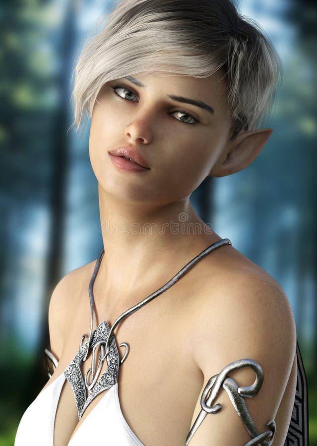 Hembra del duende de la fantasía con el pelo corto Presentación con un fondo de maderas stock de ilustración