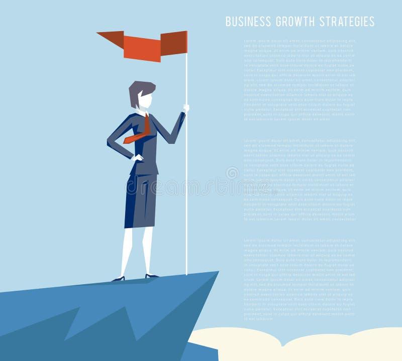 Hembra del fondo de las nubes de la montaña del símbolo del carácter de la empresaria del logro de la meta del punto de la bander stock de ilustración
