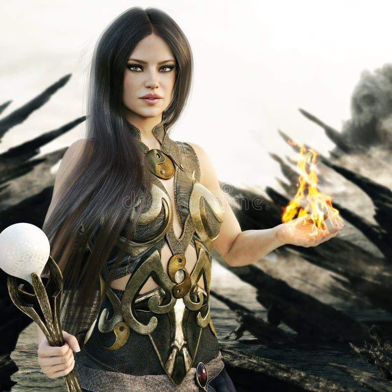 Hembra del mago de la fantasía con las llamas que vienen de sus manos y de una isla mítica del cráneo en el fondo ilustración del vector