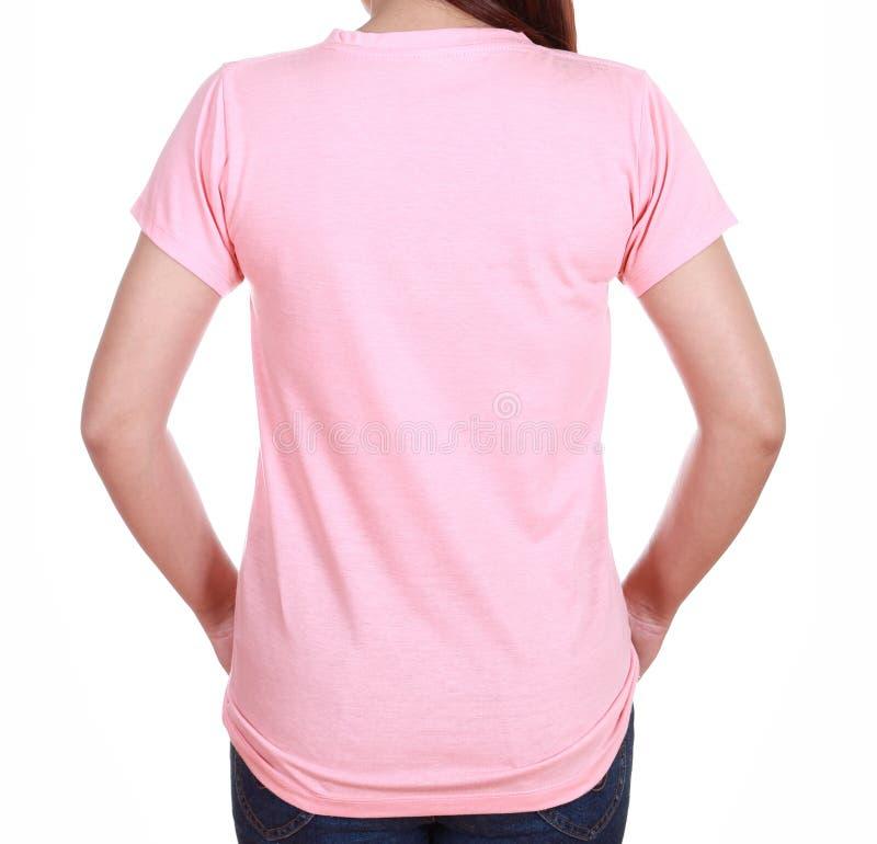 Hembra del primer con la camiseta en blanco (lado trasero) fotografía de archivo libre de regalías