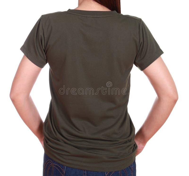 Hembra del primer con la camiseta en blanco (lado trasero) fotografía de archivo