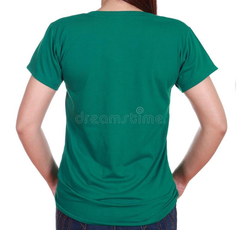 Hembra del primer con la camiseta en blanco (lado trasero) imagenes de archivo