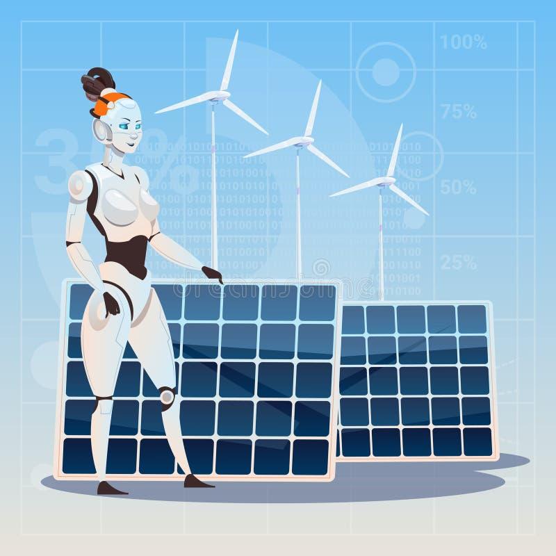 Hembra moderna del robot sobre concepto de la tecnología de la turbina de viento y de inteligencia artificial de la energía renov stock de ilustración