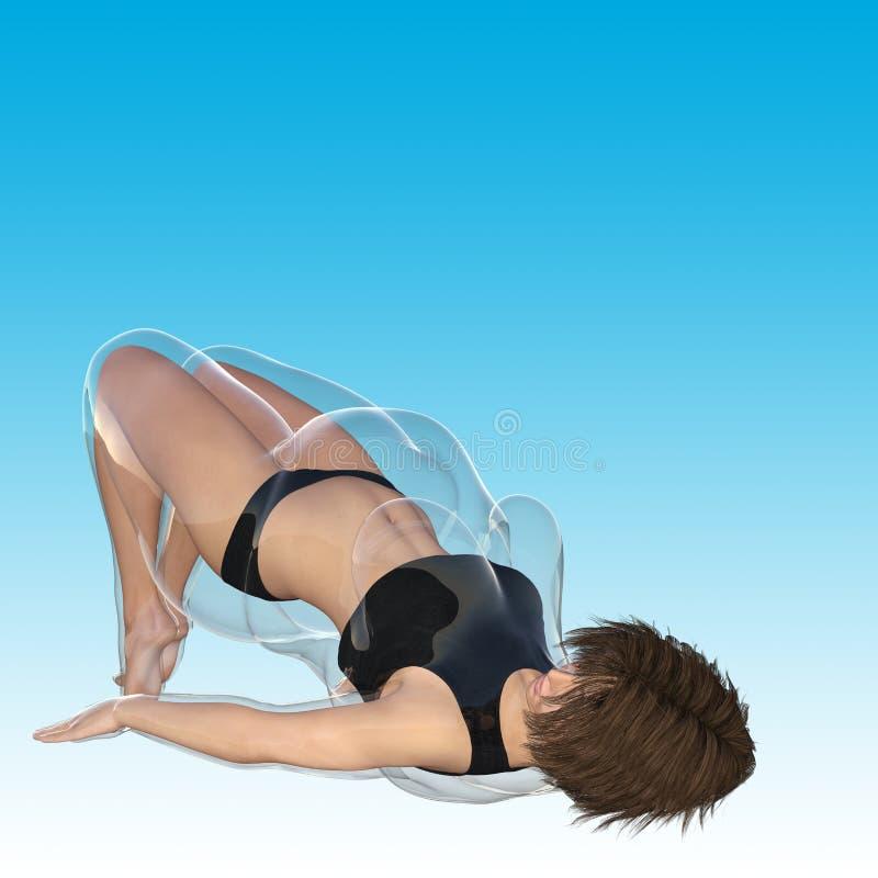 Hembra obesa gorda contra cuerpo sano del ajustado ilustración del vector