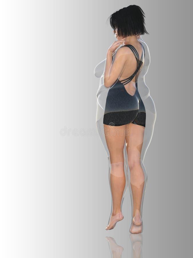 Hembra obesa gorda contra cuerpo sano del ajustado libre illustration