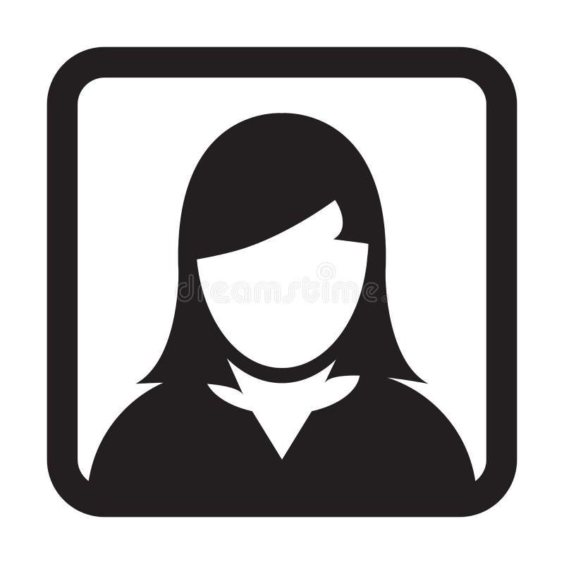 Hembra Person Symbol Profile Avatar Sign del vector del icono del usuario ilustración del vector