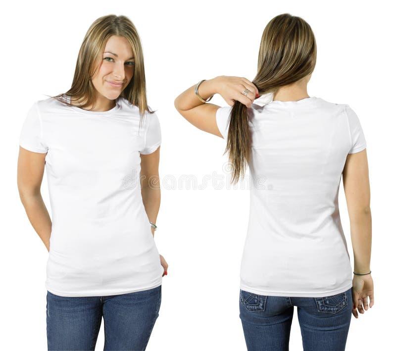 Hembra que desgasta la camisa blanca en blanco fotografía de archivo libre de regalías