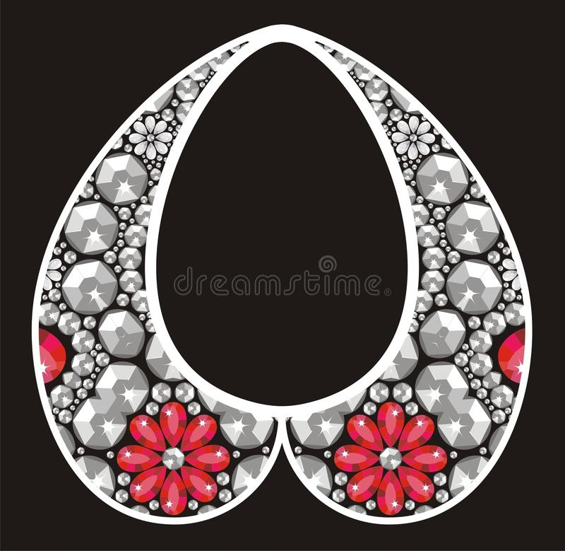 Hembra rica con las piedras preciosas rojas, brillo de piedras brillantes, regalo para casarse, BI del collar del encanto de plat libre illustration