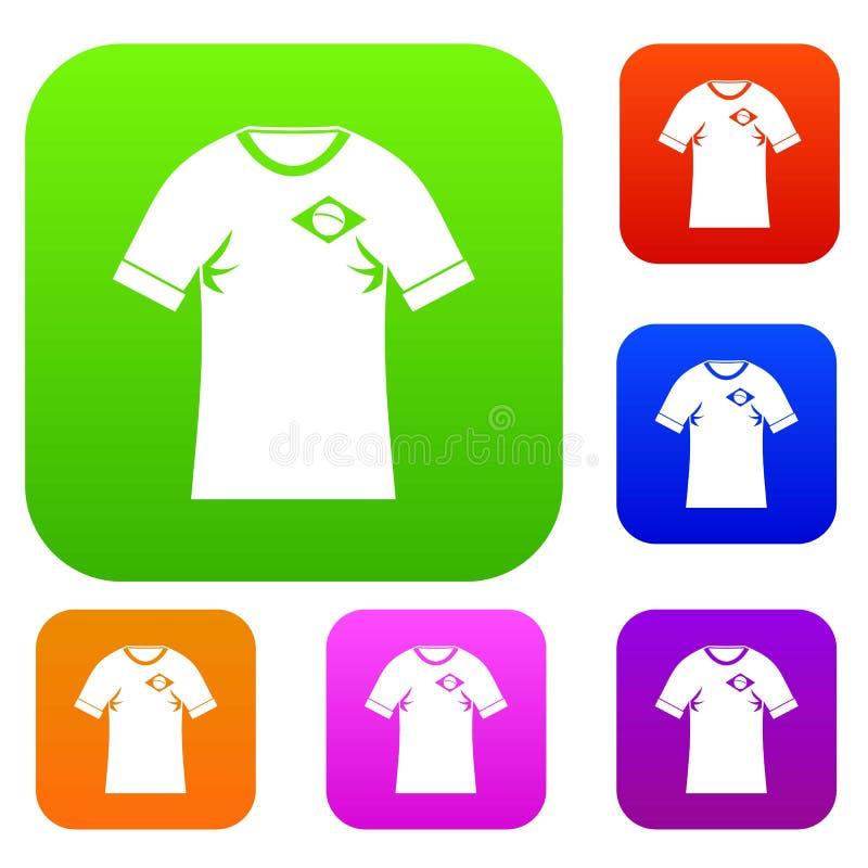 Hemd mit Flagge der gesetzten Sammlung Brasilien-Zeichens Farb vektor abbildung