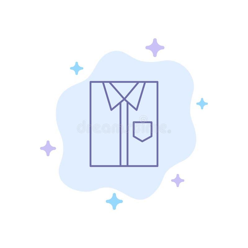 Hemd, Stoff, Kleidung, Kleid, Mode, formal, Abnutzungs-blaue Ikone auf abstraktem Wolken-Hintergrund stock abbildung
