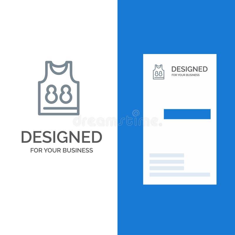 Hemd, T-Shirt, Spiel, Sport Grey Logo Design und Visitenkarte-Schablone lizenzfreie abbildung