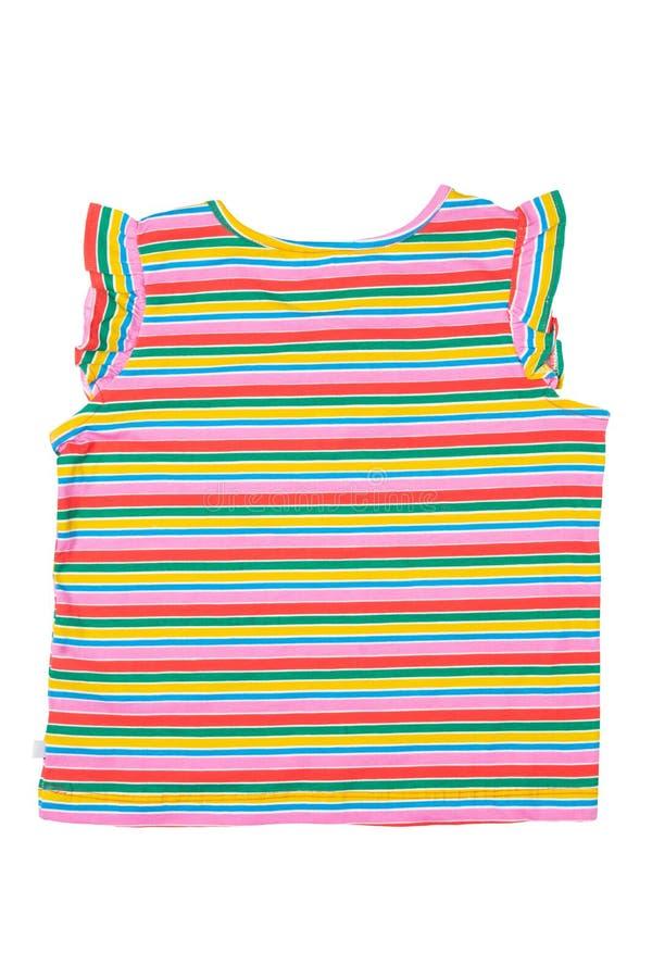 Hemd trennte Modernes kleines Mädchen streifte das Hemd oder T-Shirt, die auf weißem Hintergrund lokalisiert wurden Konzeptsommer lizenzfreies stockfoto