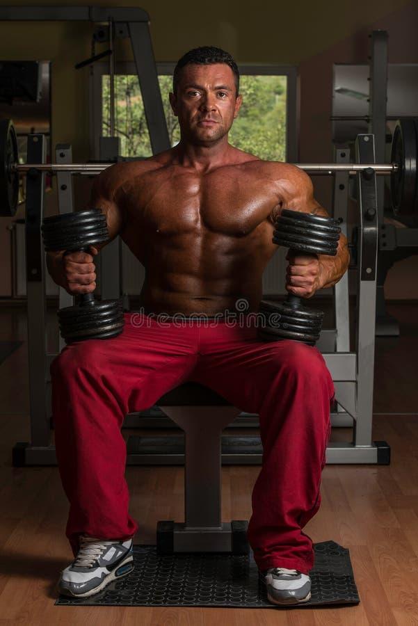 Hemdloser Bodybuilder, der mit Dummkopf an der Bank aufwirft stockbilder
